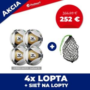 Set 4ks zápasových lôpt Hybrid Match veľkosť 5 + sieť na lopty