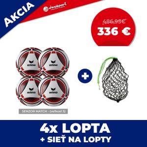 Set 4ks zápasových lôpt Senzor Match veľkosť 5 + sieť na lopty