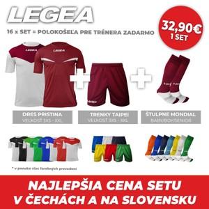 LEGEA 2x dres krátky PRISTINA + trenky TAIPEI + štulpne MONDIAL