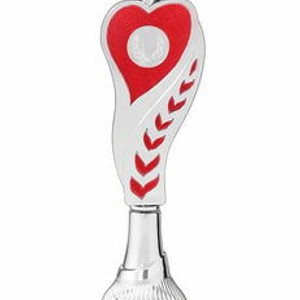 Športový pohár strieborno červený srdce