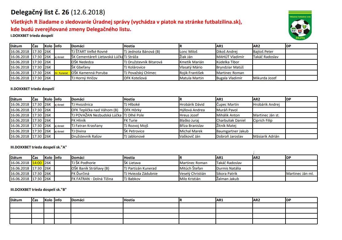 Delegačný list č. 26 2017/2018