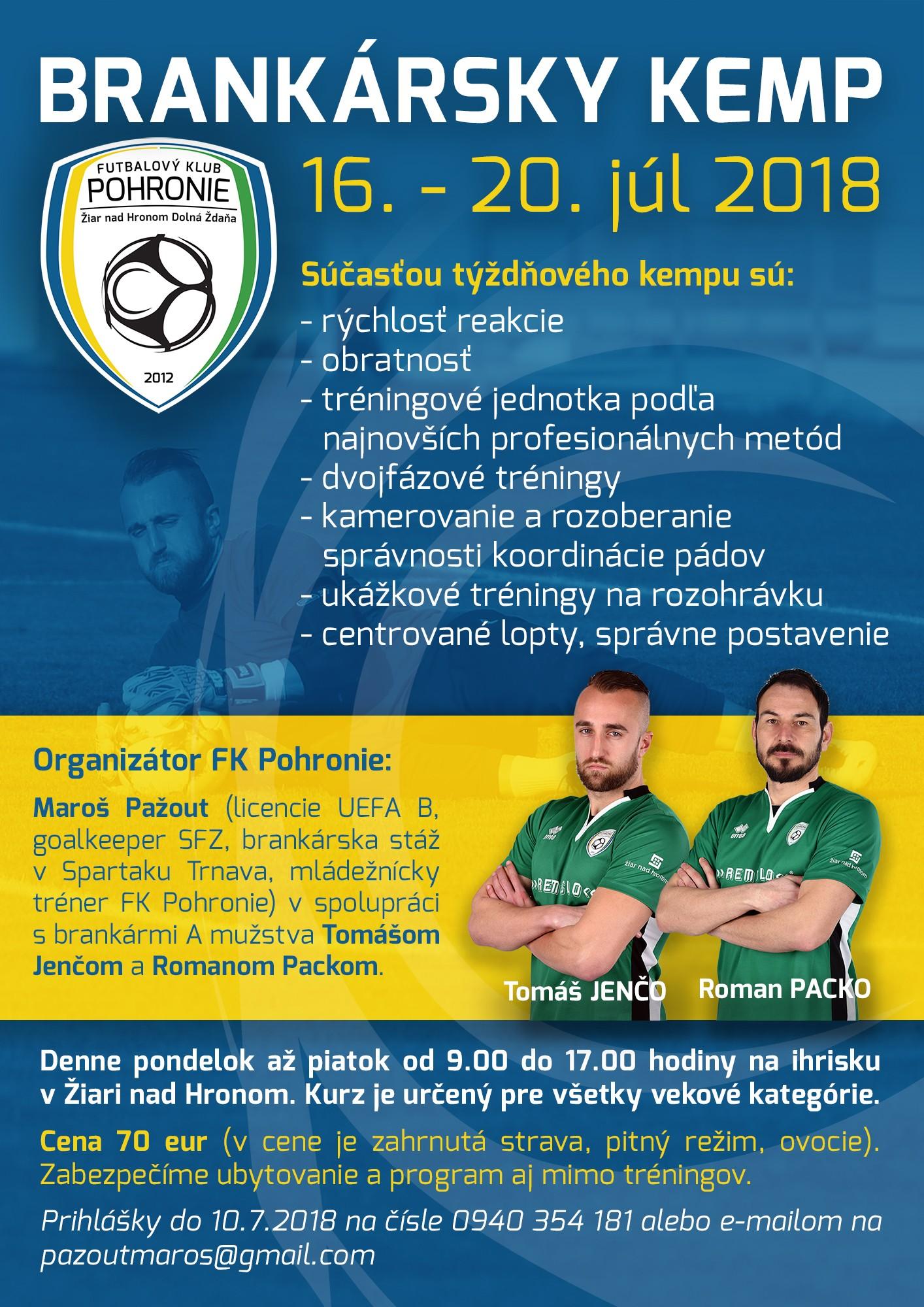 Pozvánka: Brankársky kemp 2018 v Žiari nad Hronom
