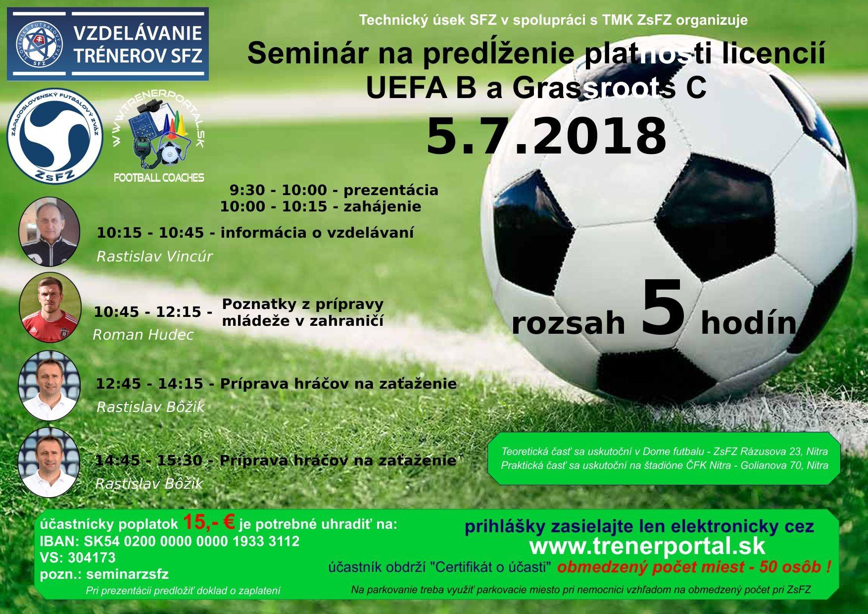 Seminár na predĺženie platnosti licencií UEFA B a Grassroots C