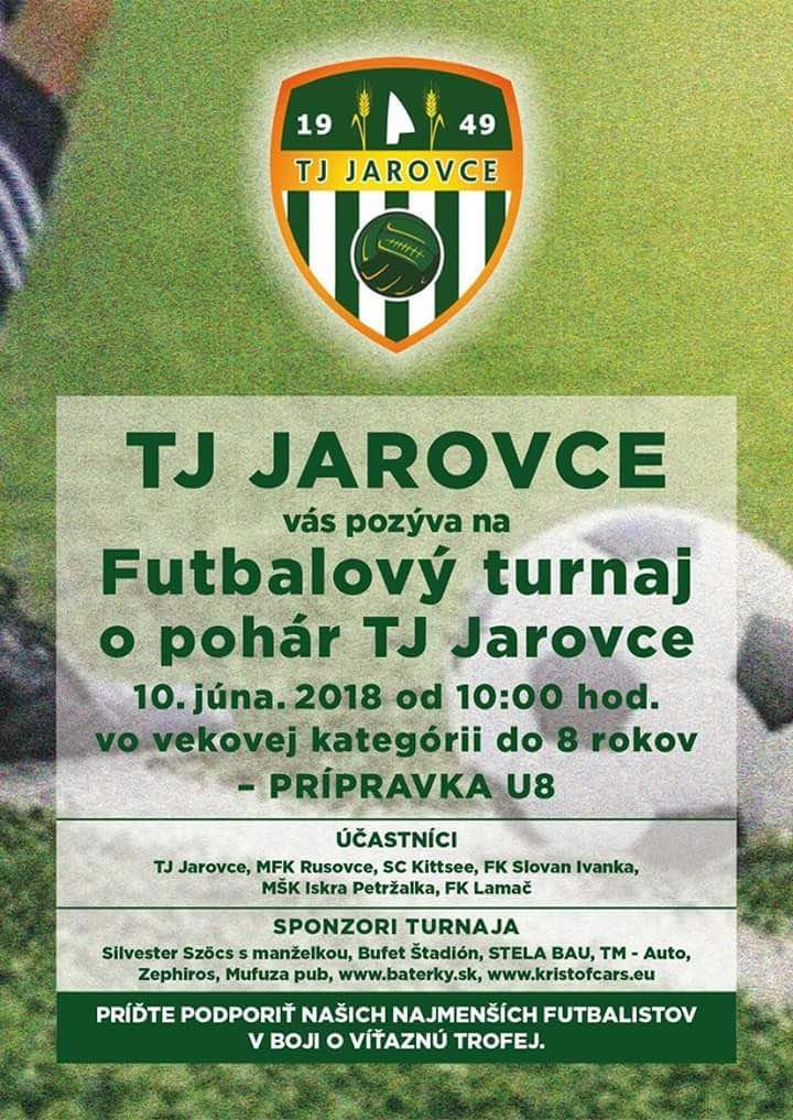 TJ JAROVCE Vás pozýva na futbalový turnaj