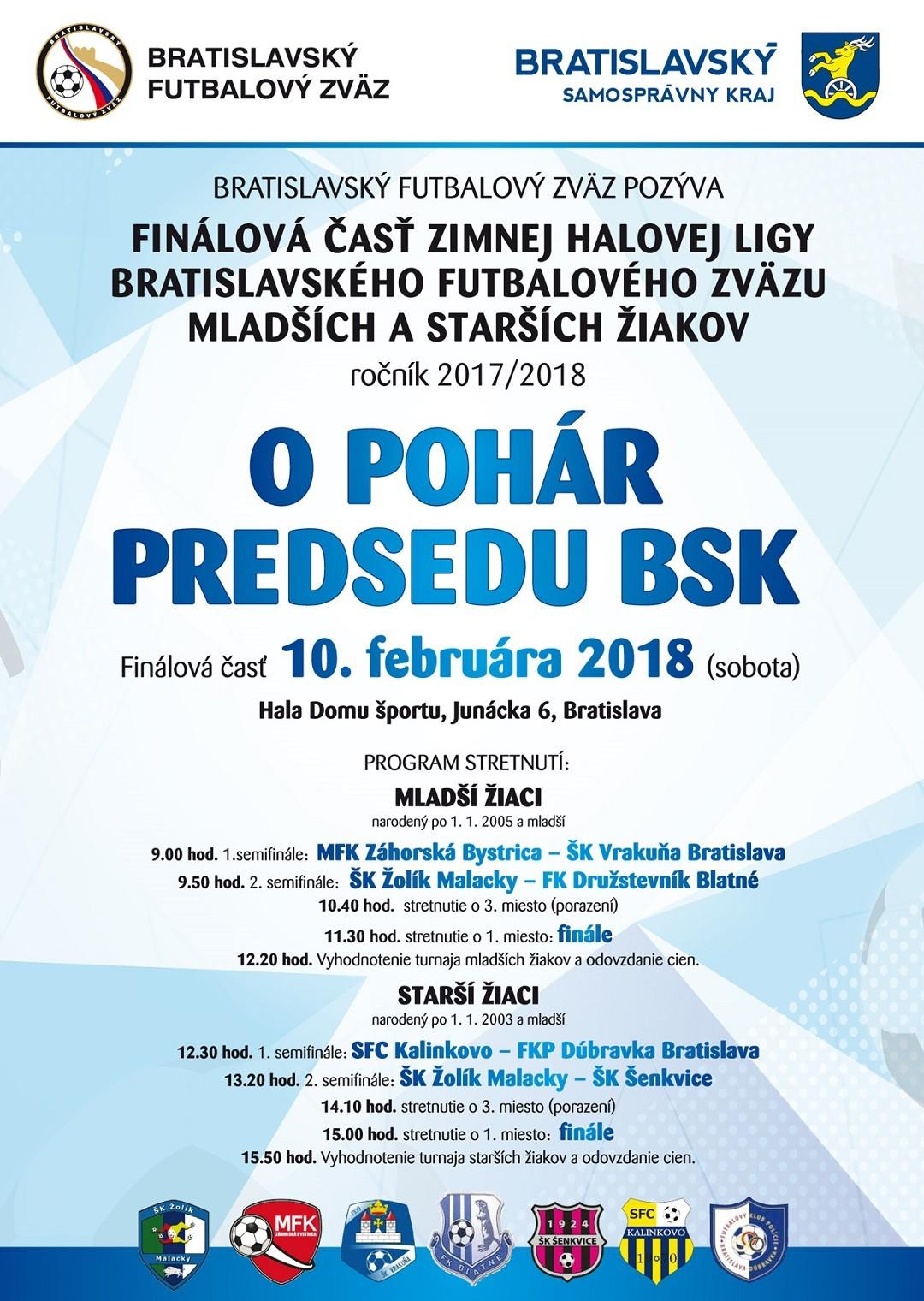 MFK Záhorská Bystrica a SFC Kalinkovo sa stali víťazmi Zimnej halovej ligy BFZ žiakov 2017/2018