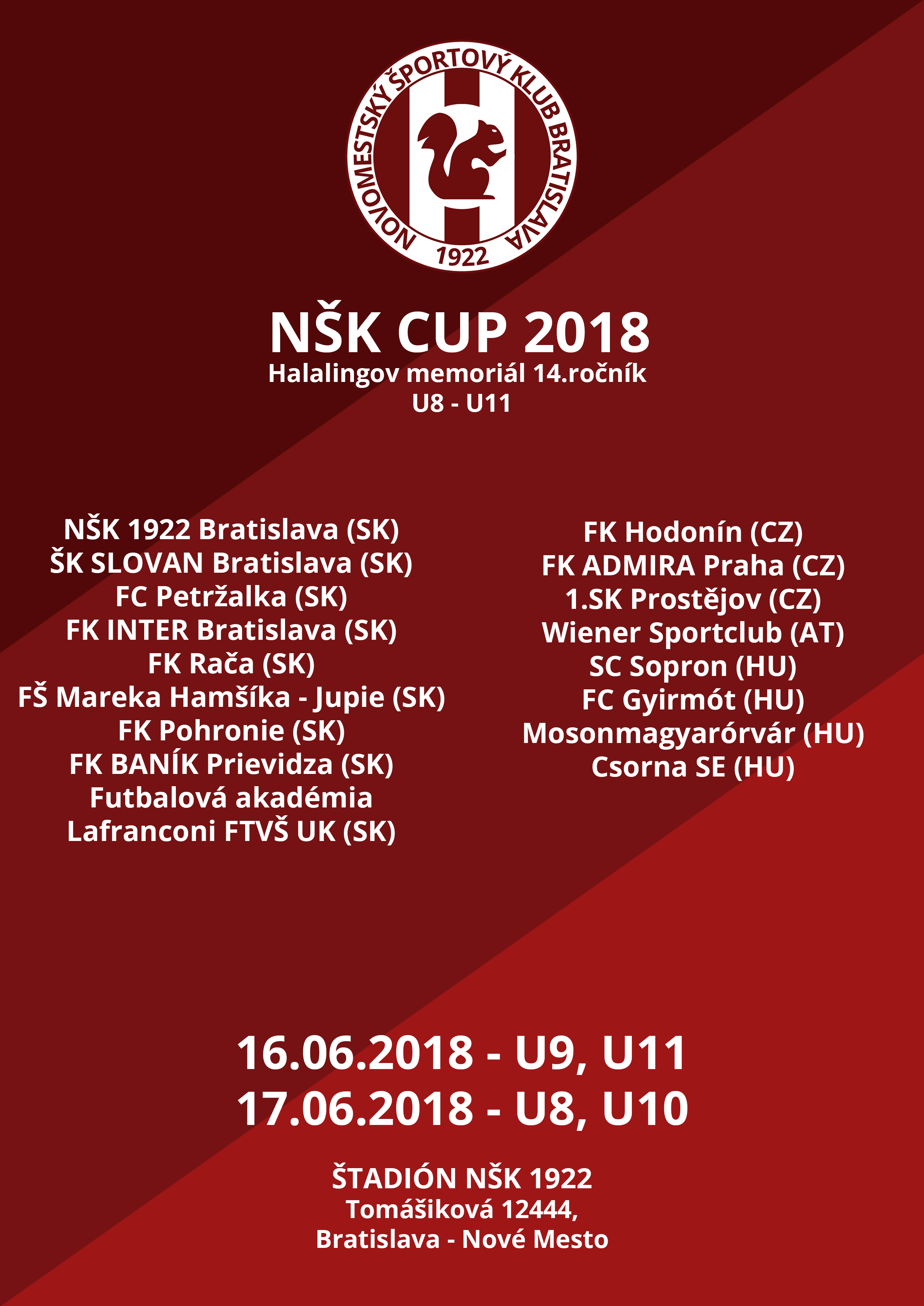 NMŠK 1922 Bratislava pozýva na turnaj prípraviek