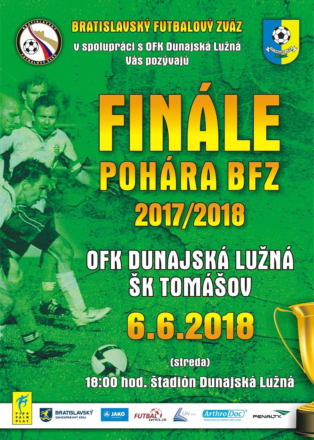 Finále pohára BFZ v stredu 6.6.2018 o 18:00 hod. v Dunajskej Lužnej