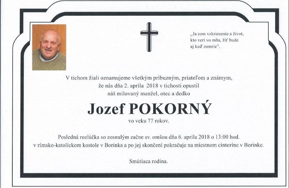 ZOMREL JOZEF POKORNÝ