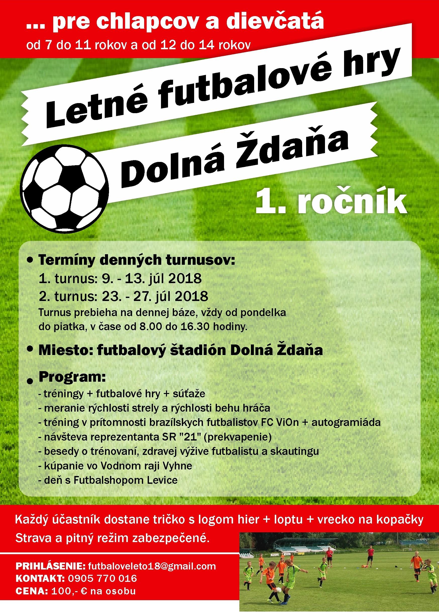 Pozvánka: Letné futbalové hry 2018 v Dolnej Ždani