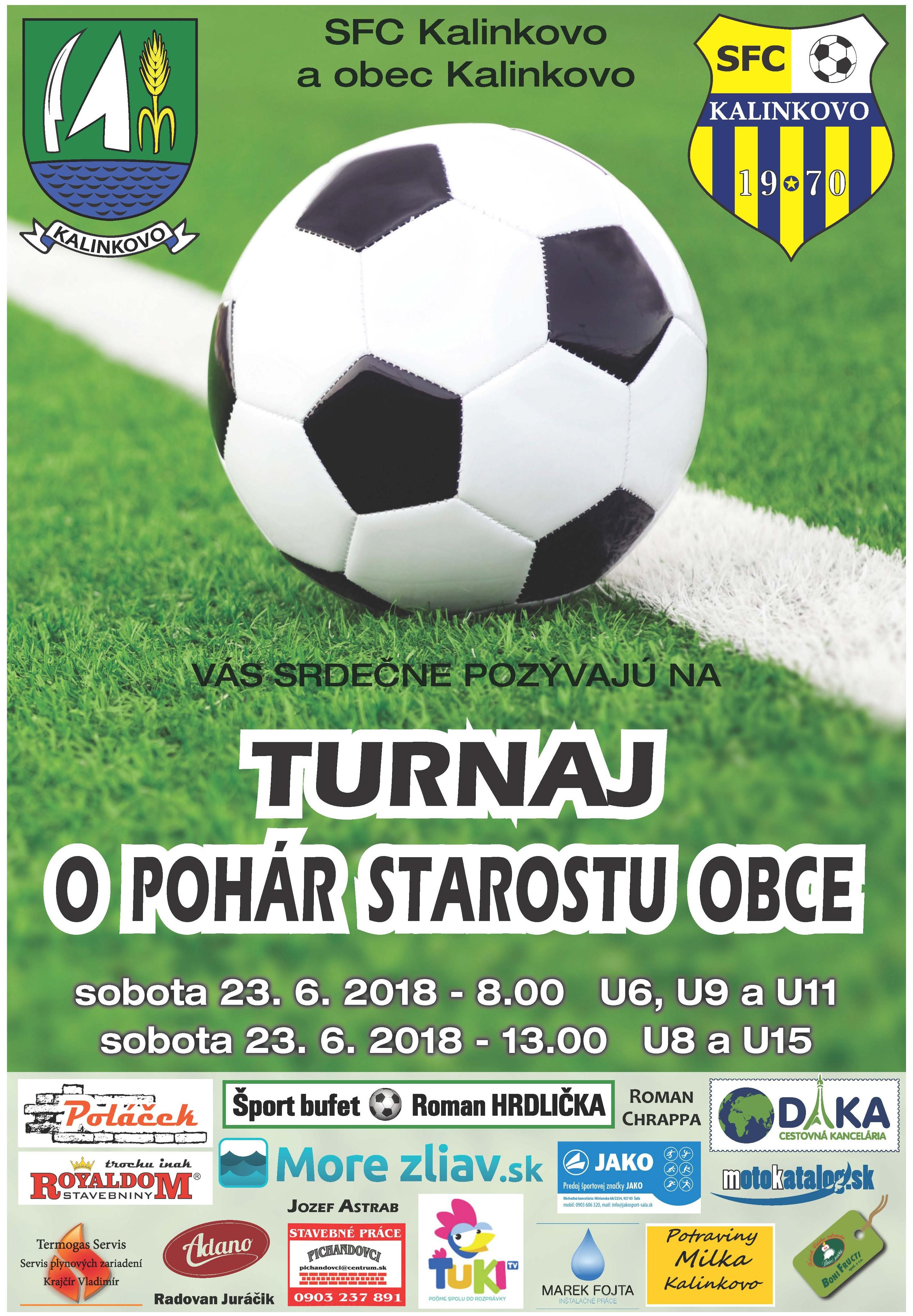 Mládežnícky turnaj o pohár starostu obce Kalinkovo - 23. 6. 2018 (sobota)