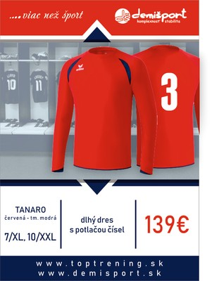 ERIMA dres dlhý TANARO  červená-tmavo modrá - sada dresov