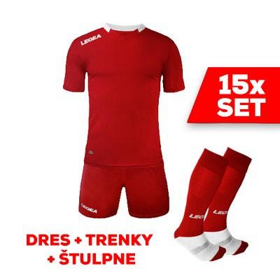 LEGEA SET dres MONACO + trenky + štulpne  červená biela