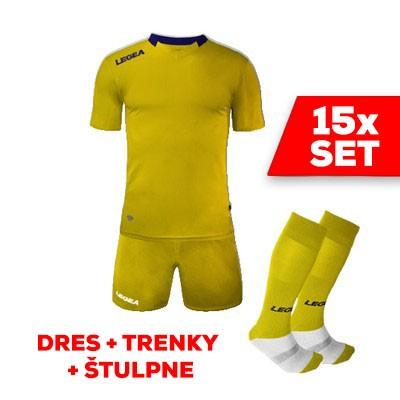 LEGEA SET dres MONACO + trenky + štulpne žltá tmavomodrá