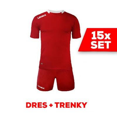 LEGEA SET dres  MONACO + trenky červená biela
