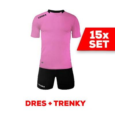 LEGEA SET dres  MONACO + trenky ružová čierna