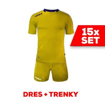 LEGEA SET dres MONACO + trenky žltá tmavomodrá