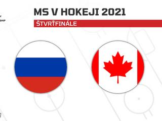 Rusko - Kanada: ONLINE zo štvrťfinále MS v hokeji 2021