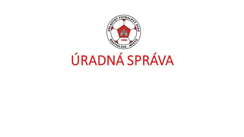 Úradná správa ObFZ Ba-mesto č.20 2018/2019 zo dňa 16.11.2018