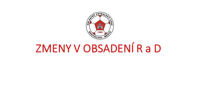 Zmeny v obsadení R a DS-PR ObFZ Bratislava – mesto  10. – 11.11. 2018 č. 14