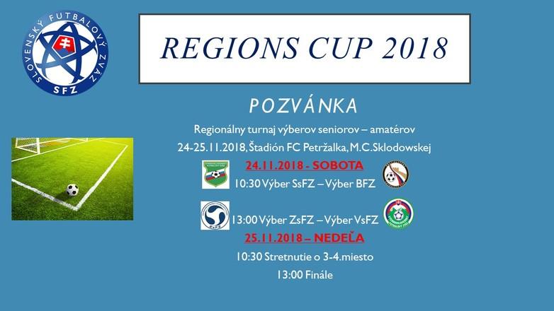 REGIONS CUP 2018 sa uskutoční v dňoch 24-25.11. 2018 na štadióne FC Petržalka
