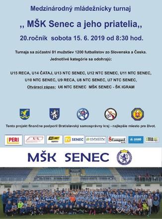 20.ročník medzinárodného mládežníckeho futbalového turnaja MŠK Senec a jeho priatelia v sobotu 15.6.2019