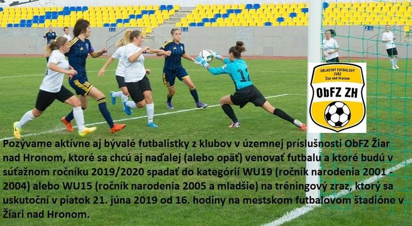 Pozvánka pre mladé futbalistky